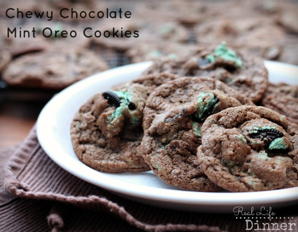 Chewy Chocolate Mint Oreo Cookies - Real Life Dinner