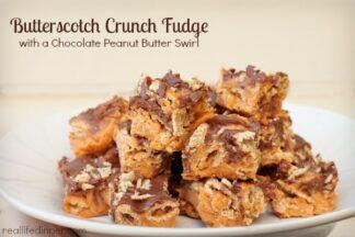 Butterscotch Crunch Fudge with a Chocolate Peanut Butter Swirl