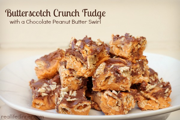 Butterscotch Crunch Fudge with a Chocolate Peanut Butter Swirl