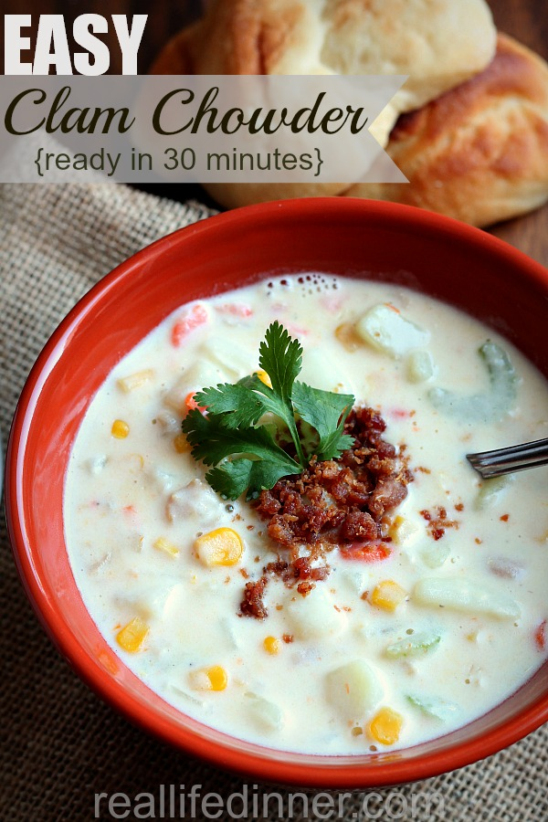 Easy Clam Chowder {30 Minute Recipe}
