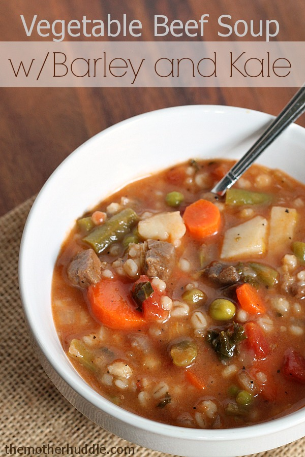 Vegetable Beef Soup with Barley and Kale