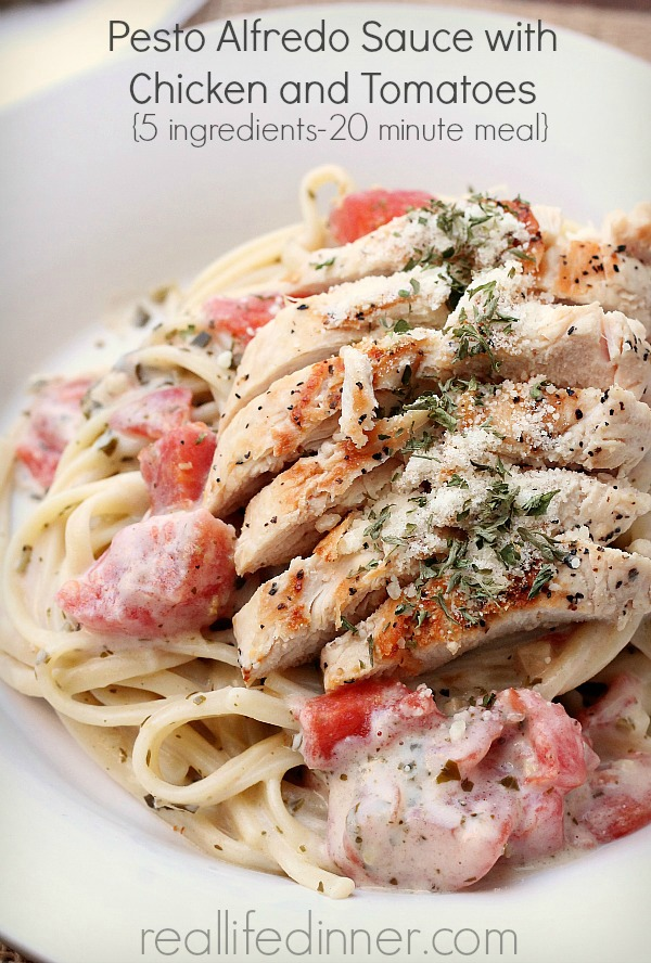 Pesto Alfredo Sauce with Chicken and Tomatoes {5 ingredients - 20 minute meal}