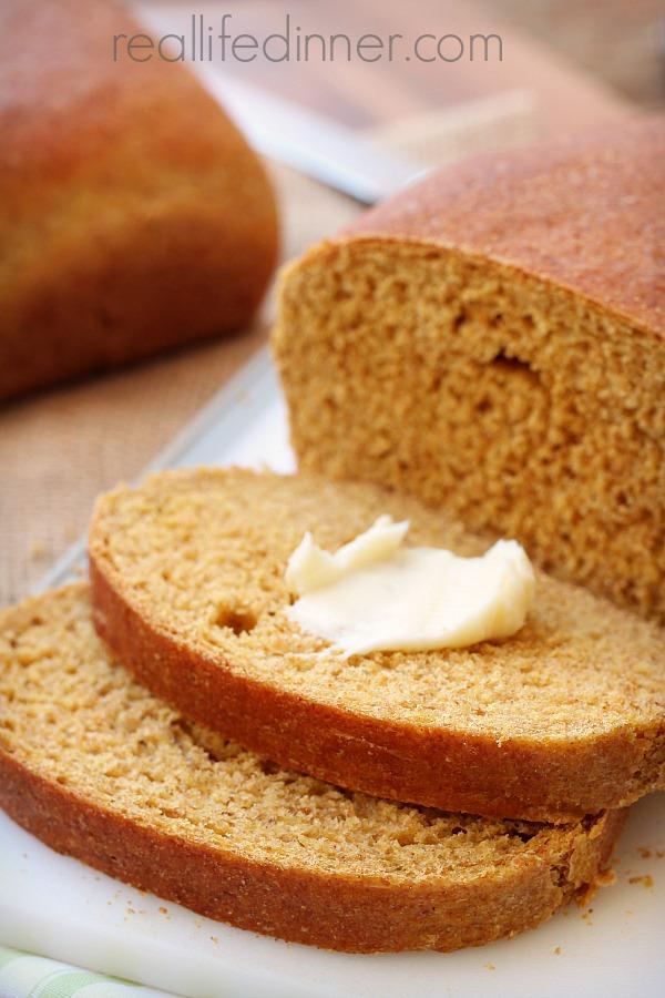 Whole Wheat Sandwich Bread {Made with Pumpkin Puree}