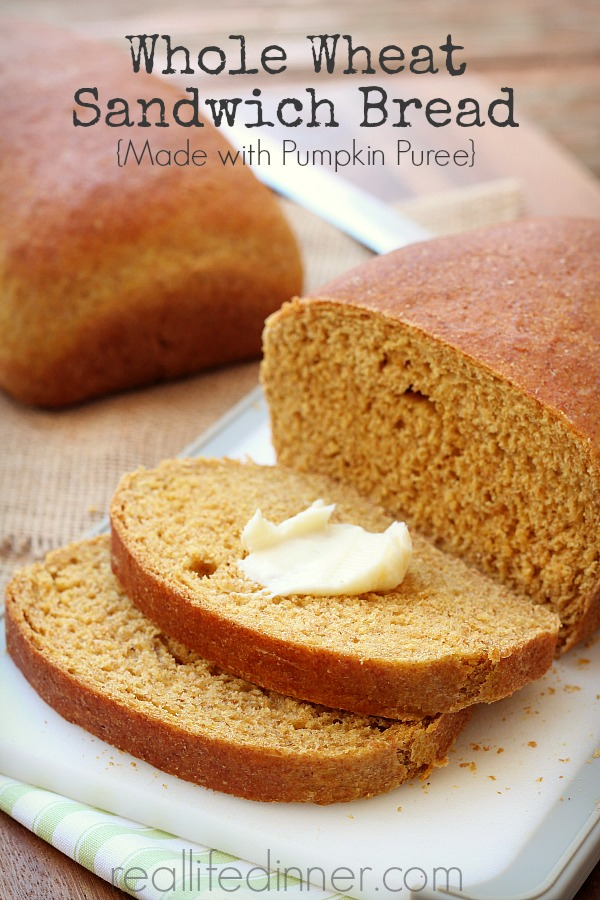 Whole Wheat Sandwich Bread with Pumpkin Puree