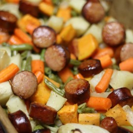Kielbasa and Roasted Veggies...Super simple Dinner. Chop, Toss, Bake!