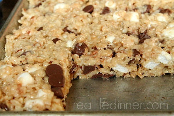 Chewy Caramel Rice Crispy Treats with Chocolate Chips!