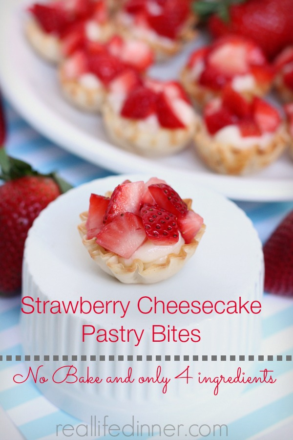 Strawberry Cheesecake Pastry Bites, no bake and only four ingredients