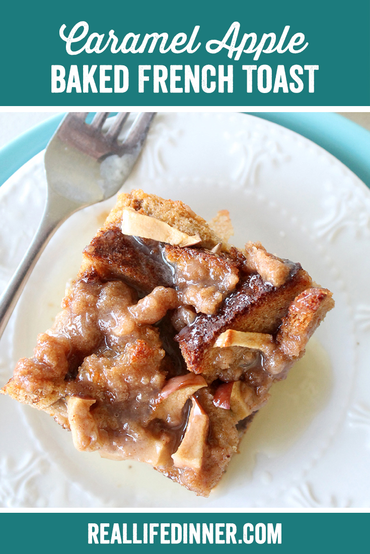 Baked apple caramel french toast on a white plate with a fork across it