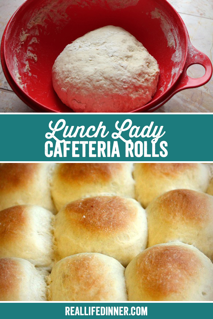 red bowl with roll dough on top and a picture of finished rolls all lined up on the bottom