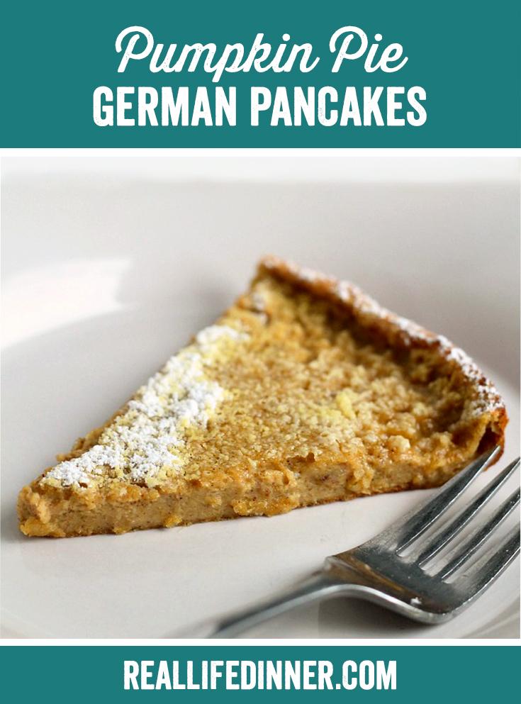 slice of a german pumpkin pie pancake it has a sprinkle of powdered sugar