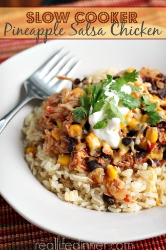 Slow Cooker Pineapple Salsa Chicken aka Mexican Delight