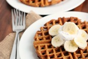 Gingerbread Waffles with whipped cream and bananas