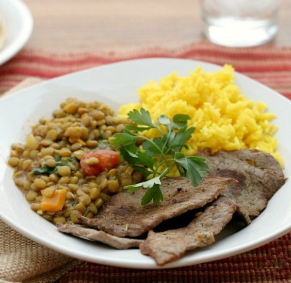 Equadorian Carne Asada and Lentils