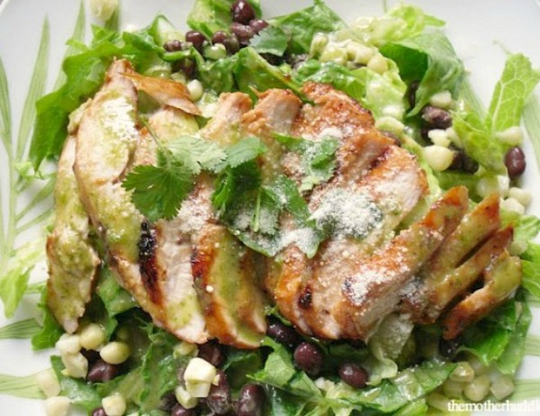Barbecue Chicken salad with Cilantro Lime Dressing