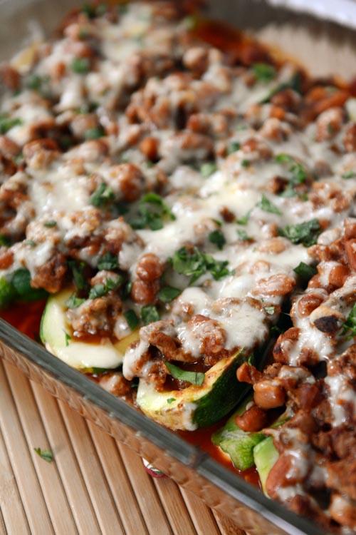 Stuffed Zucchini Enchilada Bake