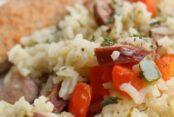 Kielbasa-rice-and-veggie-skillet-dinner-