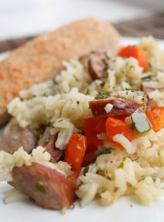 Kielbasa-rice-and-veggie-skillet-dinner-