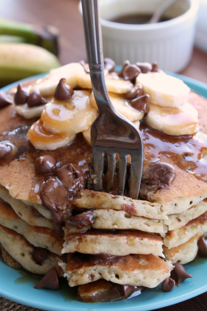 Diner-Style-Banana-Chocolate-chip-pancakes-