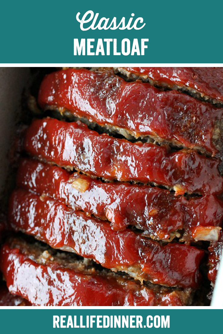 pinterest image for delicious classicmeatloaf. this picture is of the finished loaf sliced nicely.