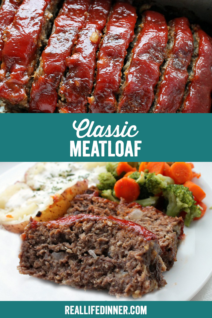 classic meatloaf pinterest collage with two images and a text box in the center of the image with the name of the recipe