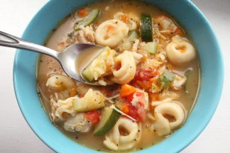 Chicken Tortellini Soup with Extra Veggies