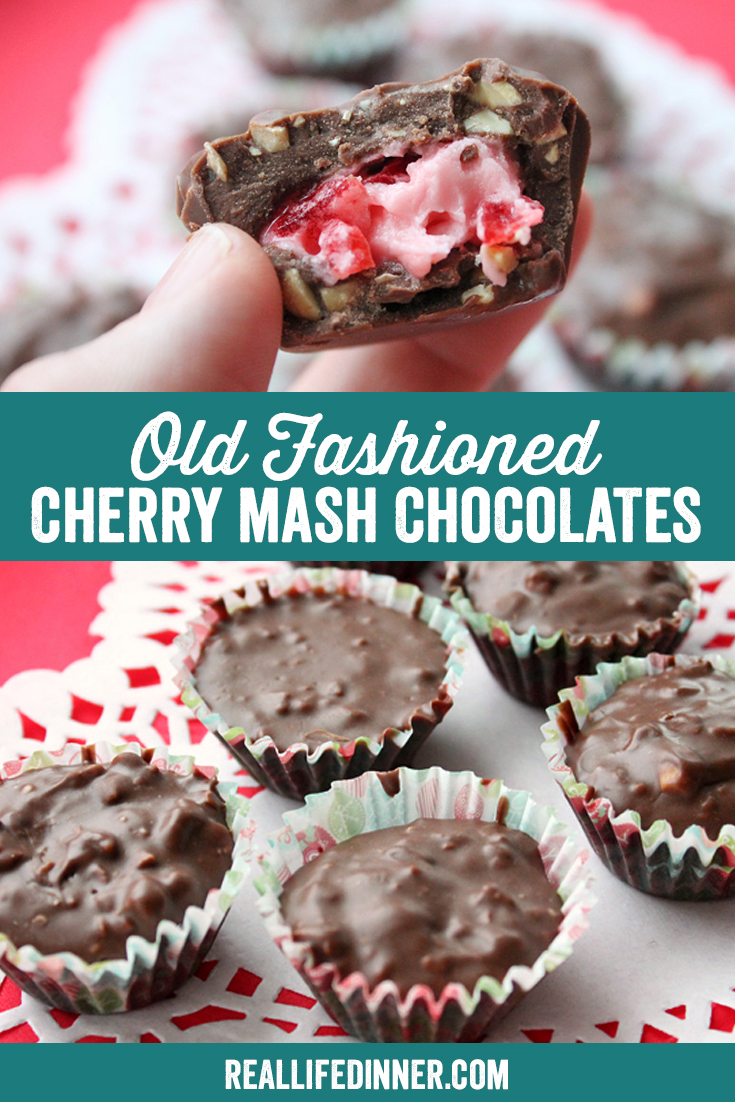 two pictures in a pinterest collage for cherry mash chocolates. you can see a plate of them and also one that has a bite out of it.  there is a line of text with the recipe name separating the pictures