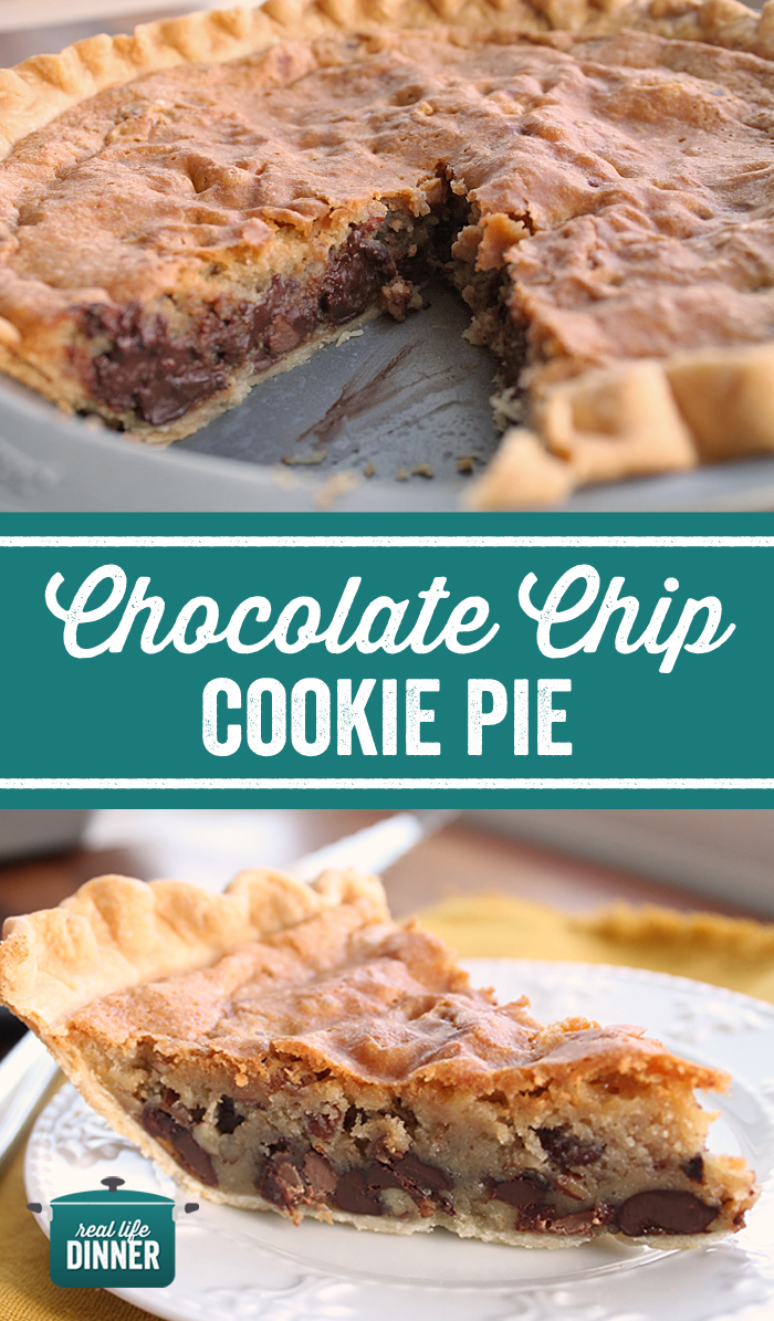 pinterest image for the chocolate chip cookie pie, top one is the pie tin with all of the pie except one missing piece gives a clear picture of the nice warm melted chocolate. The bottom picture is of a single slice of pie
