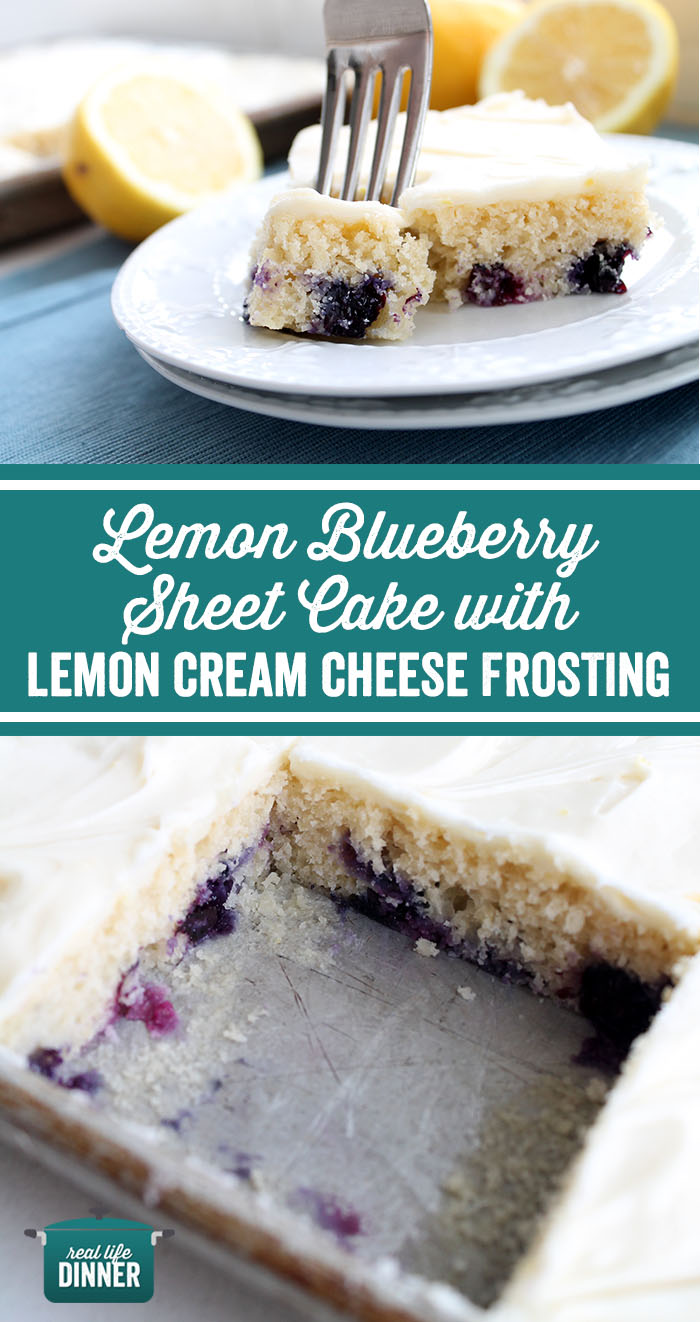 Collage picture of a white sheet cake with lemon and blueberries and Lemon Cream Cheese Frosting. two pictures separated with words explaining the dessert.