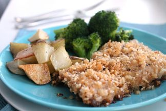 Baked Chicken Thighs with a crunchy rice crispy coating.