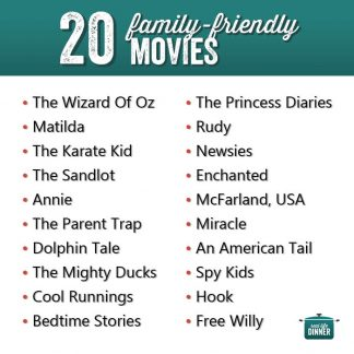 white background and black and turquoise writing about family friendly movies