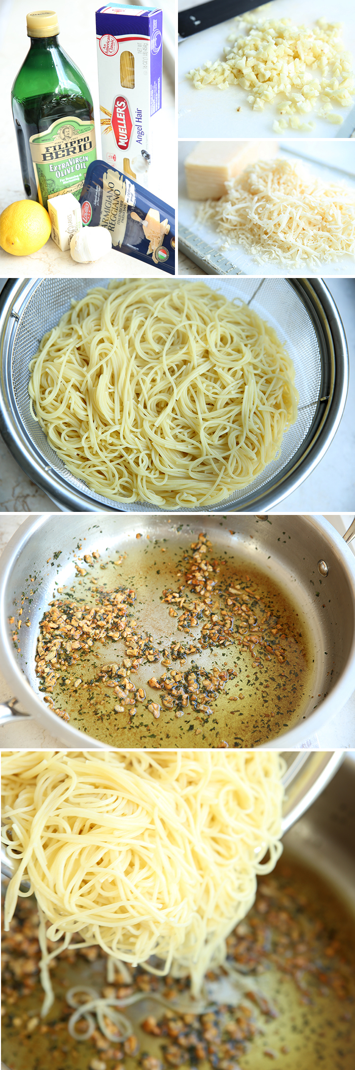 How to pictures for making Angel Hair Pasta with Sauteed Garlic and Parmesan