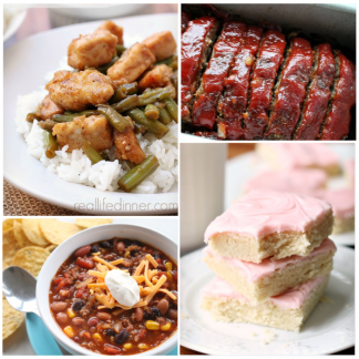 picture of three meals and one dessert that can be made with pantry and freezer ingredients