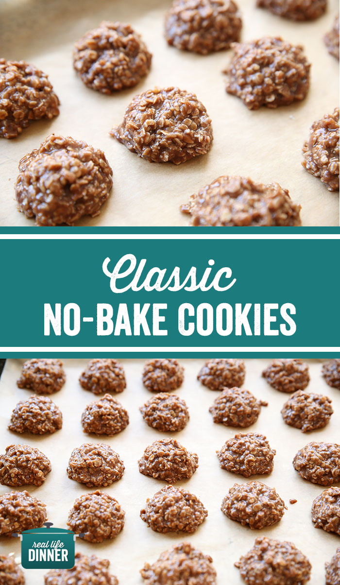 pinterest collage of no-bake cookies