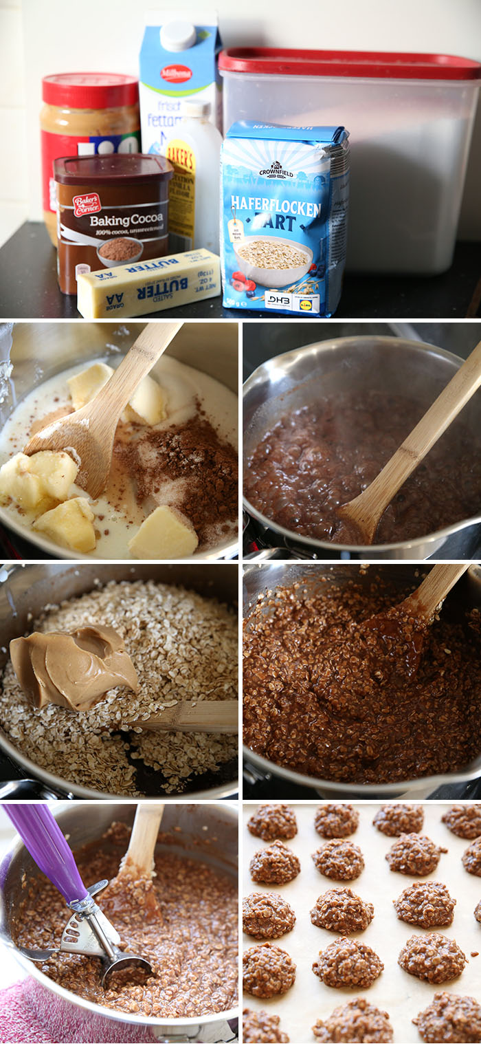 Step by step pictures for making classic no bake cookies
