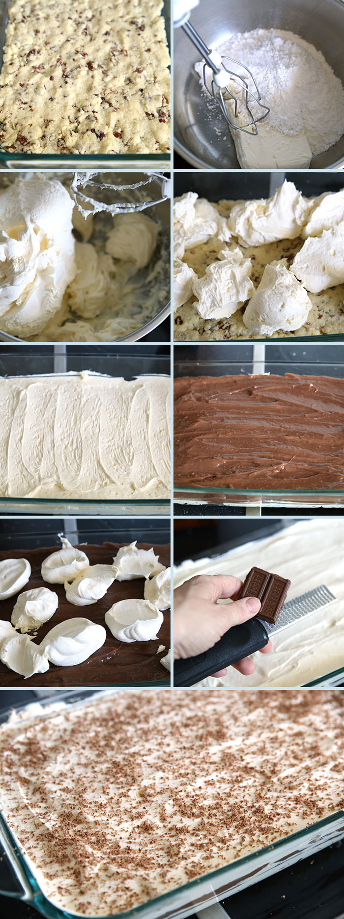 Collage of how to steps for making chocolate lasagna dessert