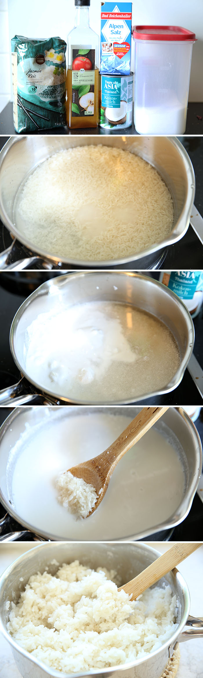 step by step picture collage showing how to make coconut rice