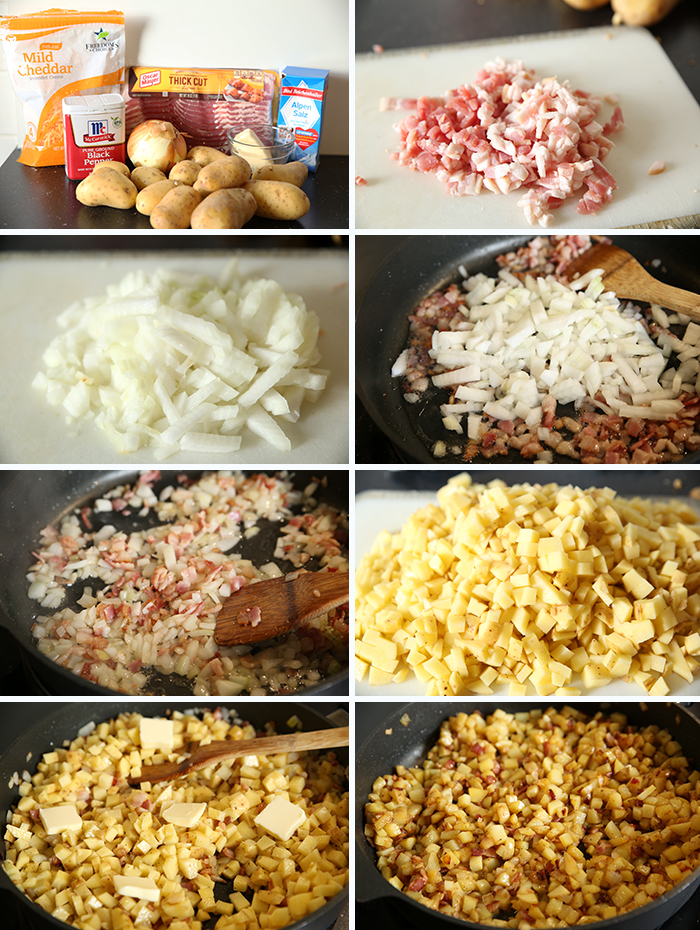 Step by Step pictures showing how to make skillet potatoes with cheese and bacon. one picture shows all ingredients, others show varying times of ingredients being added to the skillet.