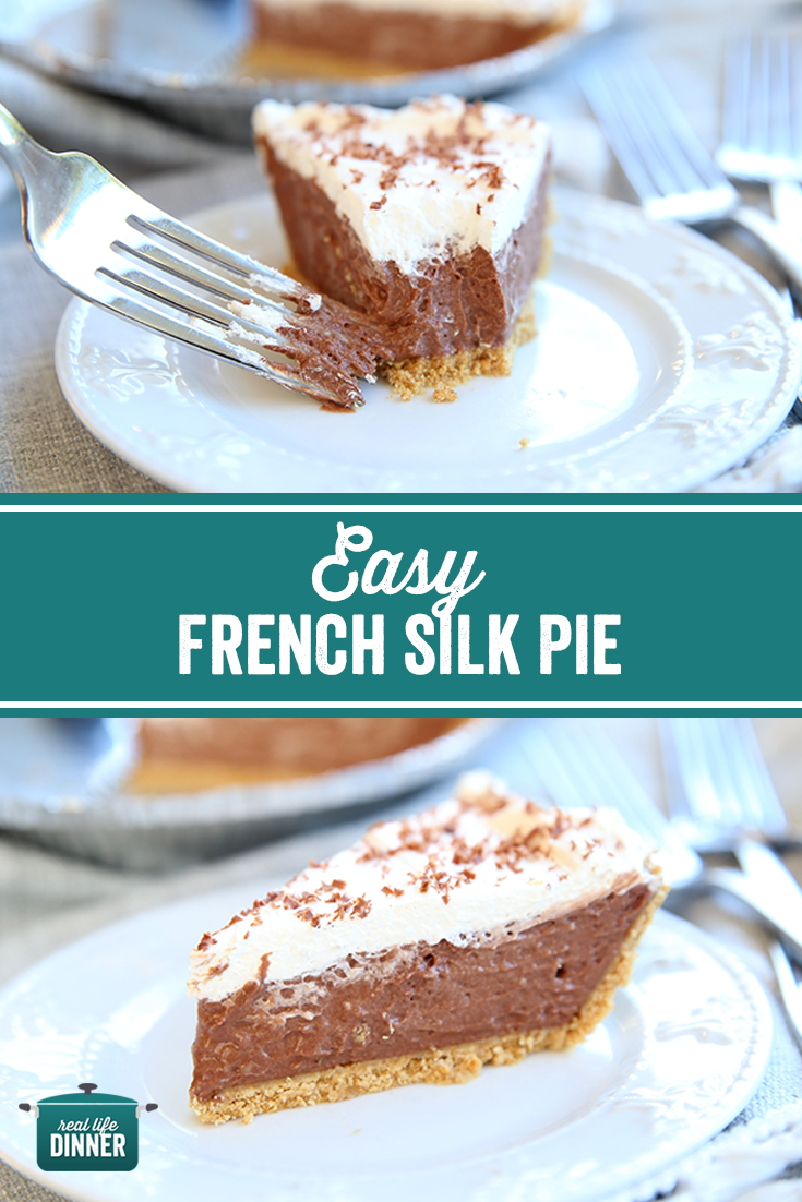 a collage for pinterest of the french silk pie top picture is of a piece with a bite out, bottom pic is a piece that is still intact.