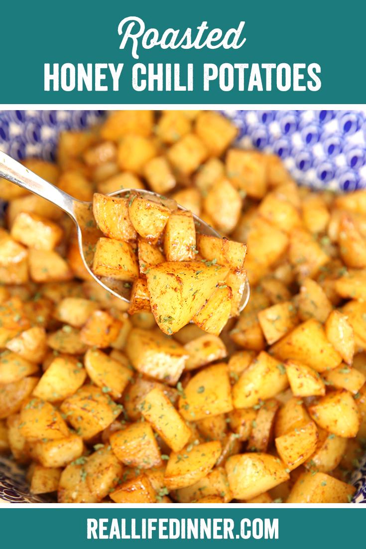 pinterest image for roasted chili honey potatoes