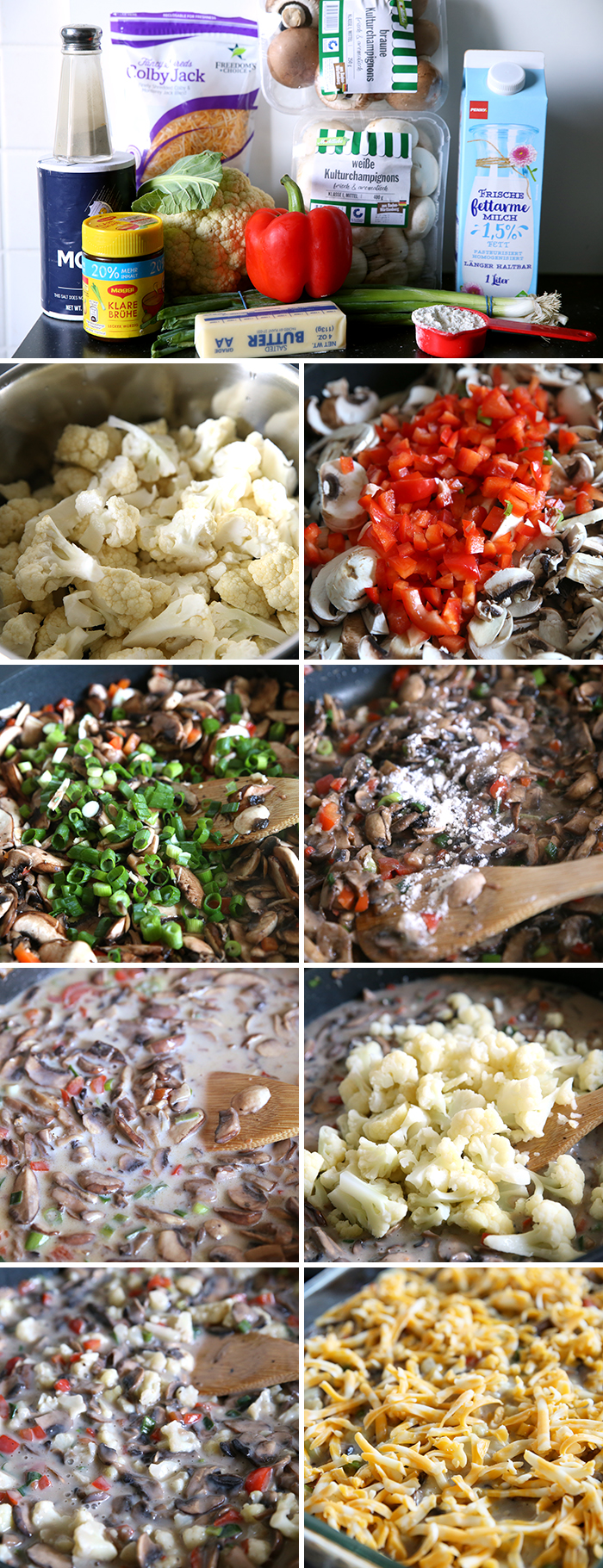 step by step pictures for making company califlower a creamy vegetable side dish. there are 9 pictures in the collage.