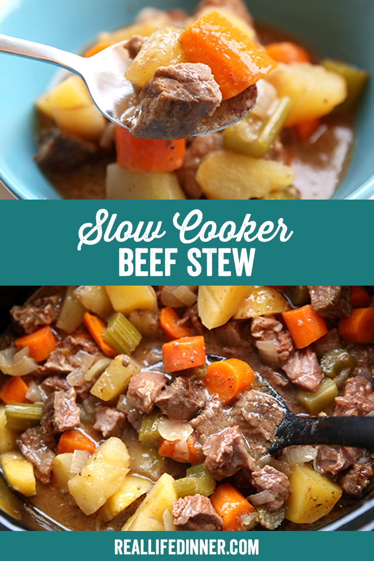 Pinterest picture with title of the text in the middle of the photo for Slow Cooker Beef Stew