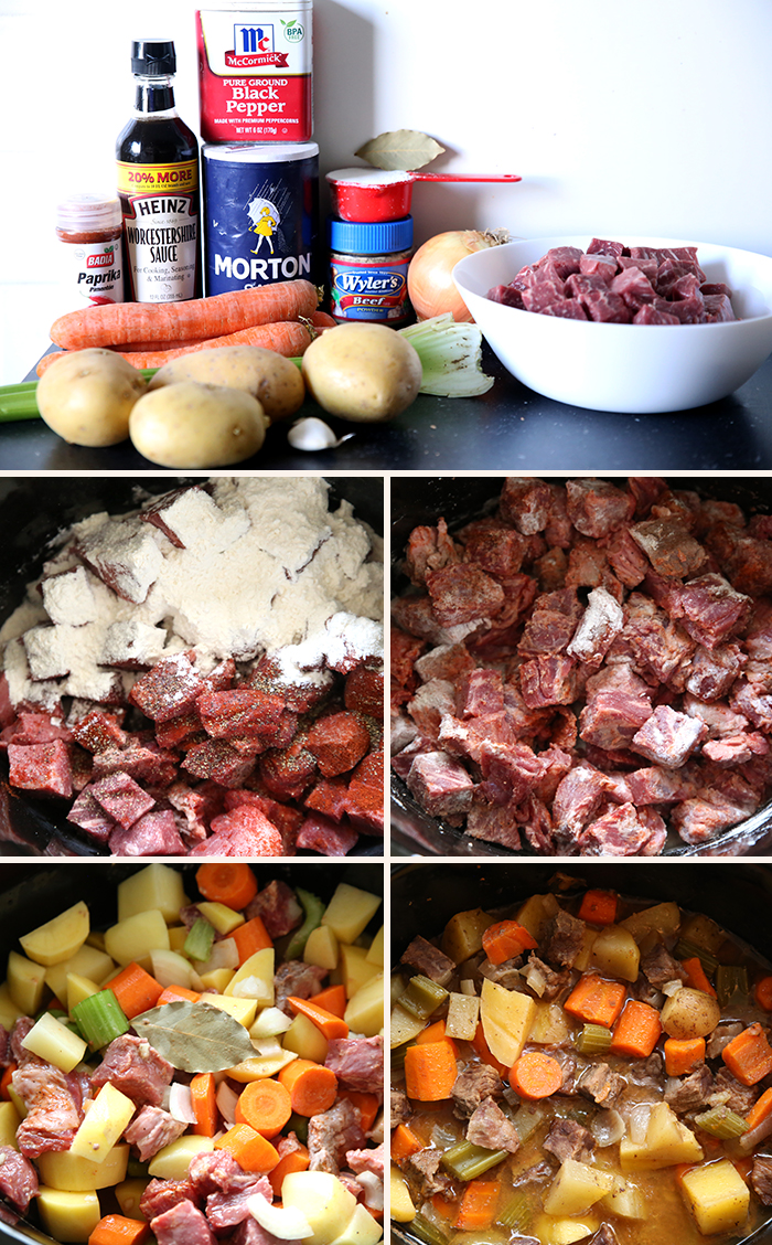 Five-picture collage showing steps on how to make Slow Cooker Beef Stew