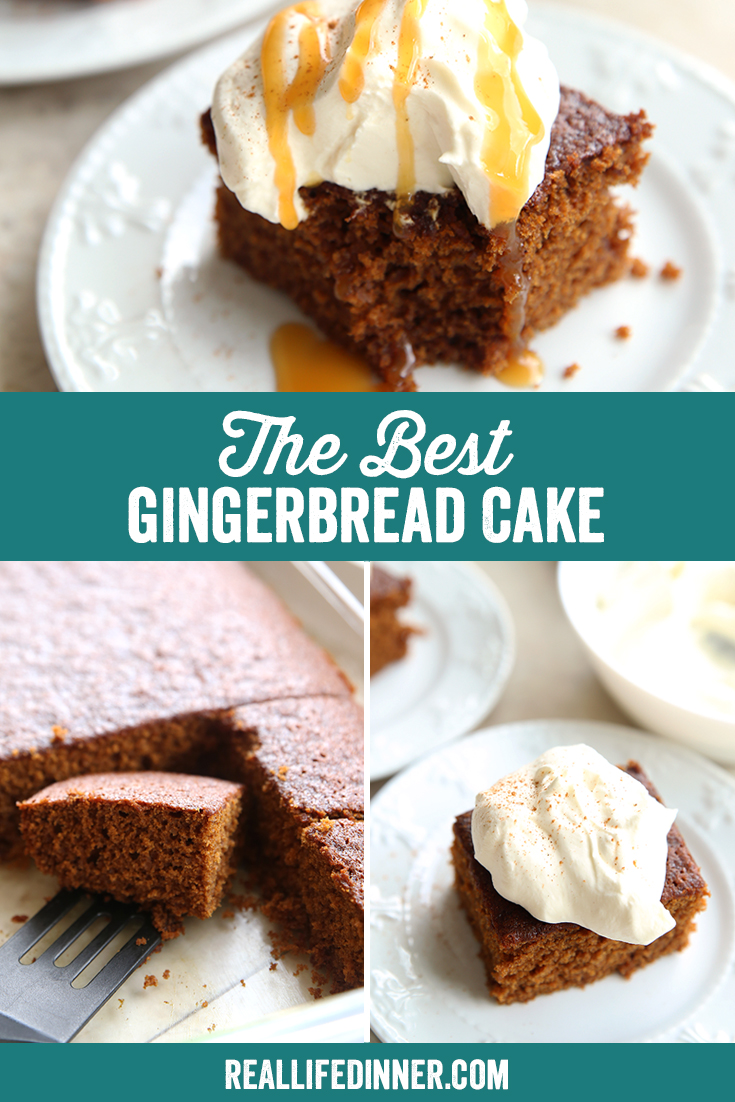 A collage picture for Pinterest for The Best Gingerbread Cake. This one has three pictures that are used throughout the post.