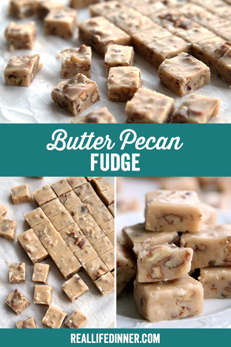 a pinterest image with three pictures collaged together. The pictures are all of butter pecan fudge