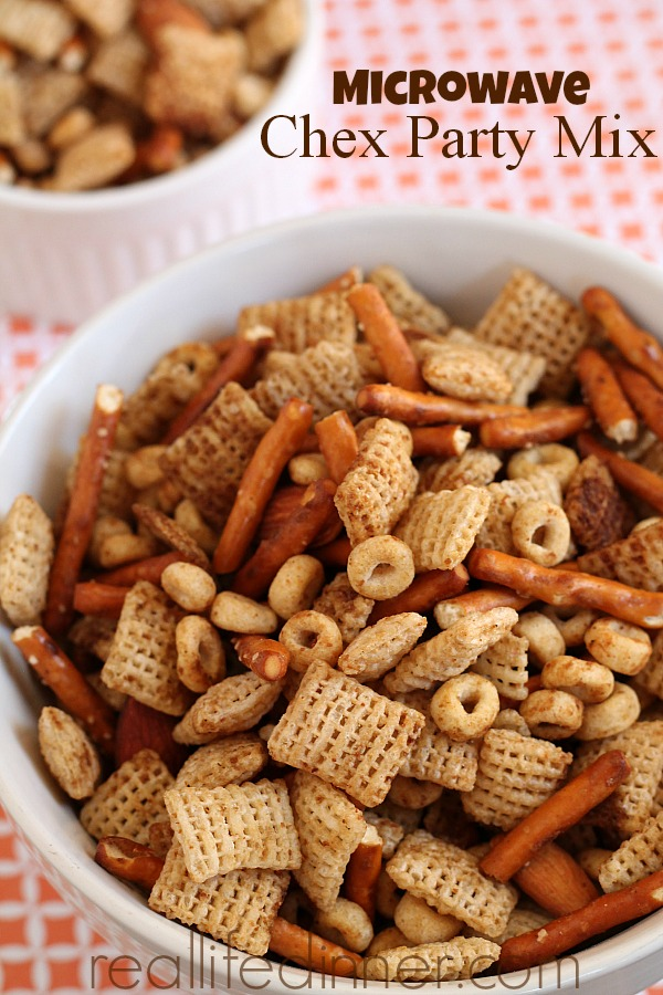 white bowl of chex mix