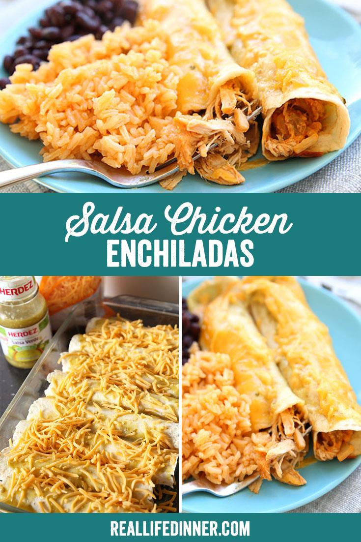 pinterest image for salsa chicken enchiladas it has three images