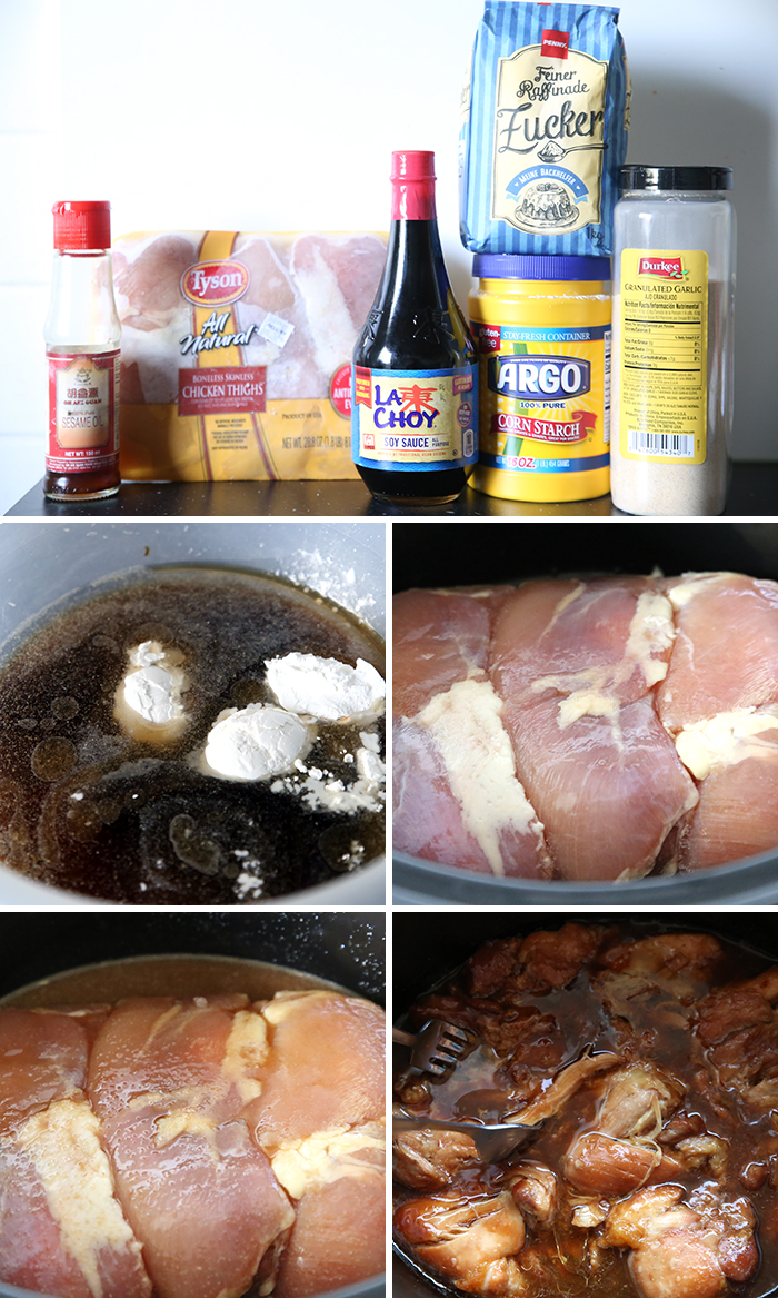 A collage of 5 pictures showing step by step instructions of how to make Slow Cooker Teriyaki Chicken