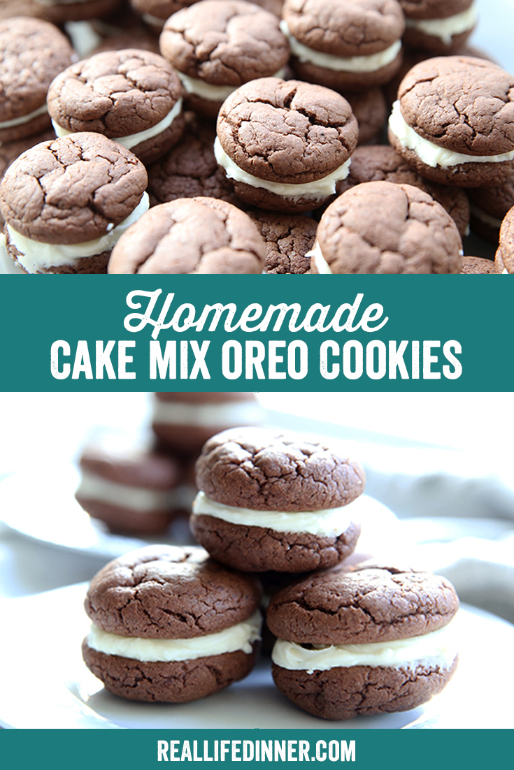 pinterest image for homemade oreo cookies two images
