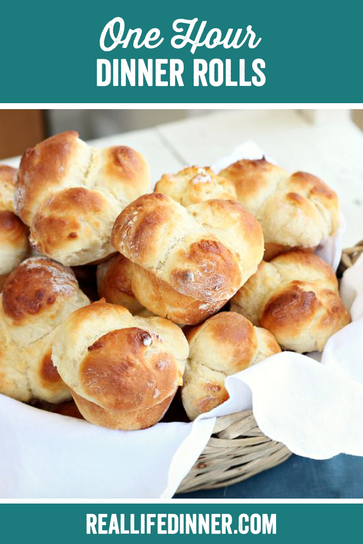 Pinterest pic of One Hour Dinner Rolls with the text of recipe title at the top.