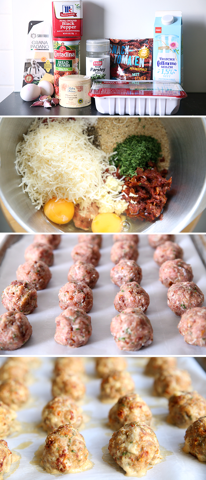 Four-photo collage of how to make Sun-dried Tomato Turkey Meatballs